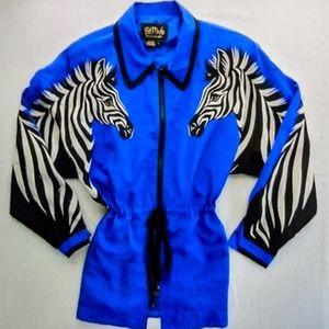 Bob Mackie Wearable Art Silk Zebra Jacket Size M